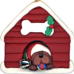 Dog House Brown Dog Personalized Christmas Tree Ornament $14.95