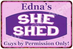 Edna's Purple & Pink SHE SHED Vintage Sign 8x12 Woman Wall Décor A81200037