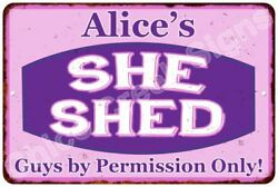 Alice's Purple & Pink SHE SHED Vintage Sign 8x12 Woman Wall Décor A81200103