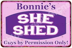 Bonnie's Purple & Pink SHE SHED Vintage Sign 8x12 Woman Wall Décor A81200240