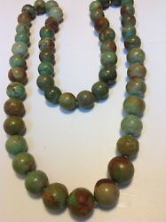 Antique Chinese round natural Turquoise beads necklace original tribal (m1571)