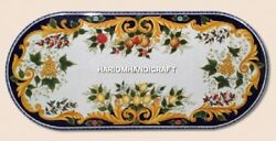 7'x4' Intricate Floral Work Marble Classic Table Inlay Design Patio Decor H4688B