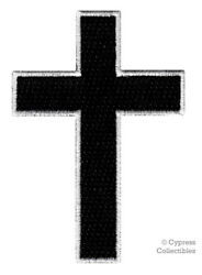 CHRISTIAN CROSS iron-on PATCH embroidered BLACK WHITE CRUCIFIX JESUS BIKER new