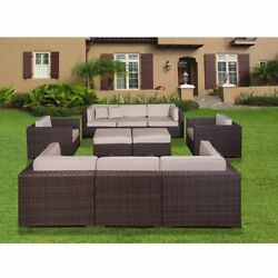 Atlantic Milano Deluxe 10-piece Synthetic Wicker Sectional Set with Antique