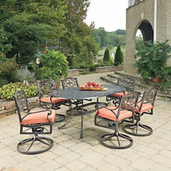 Biscayne Rust Bronze Oval 7 Pc Outdoor Dining Table & 6 Swivel Rocking Chairs