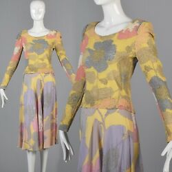XS Vintage 1970s 70s Two Piece Skirt Separates Silk Pucker Long Sleeve Top Flowy $168.30