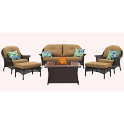 Hanover Outdoor San Marino 6-Piece Fire Pit Lounge Set in Country Cork
