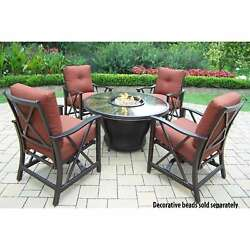 Premium Sunlight Red 5-piece Chat Set with Fiberglass Round Gas Firepit Table