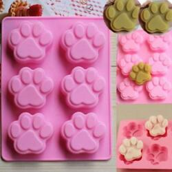 Cute Cat Dog Paw Silicone Cake Chocolate Mold CandySoapJelly Ice Cube Molds S