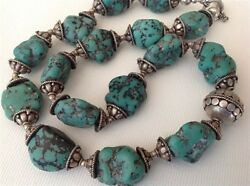 Antique Chinese raw Turquoise beads silver necklace original jewelry (m1081)