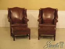 2931529316: Pair ETHAN ALLEN Leather Wing Back Chairs w. Matching Ottomans