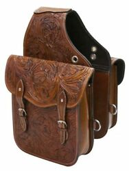 Western Trail Hand Tooled Brown Leather Horse or Motorcycle Saddle Bag Bags $86.60