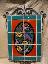 Catalina Island Original Fantasy Bird Tile mural in Original Wrought Iron 1930