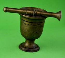 VTG 1899 LARGE SOLID BRASS MORTAR AND PESTLE APOTHECARY MEDICINE MARIA ANTIQUE $179.00