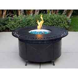 Cast Aluminum 47-inch Round Propane Firepit Chat Table