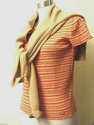 Gorgeous CHANEL Camel orange pink white rare 100% cashmere cardigan set M 40