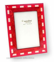 Natalini Wood Marquetry Photo Frame Christmas Red and White Handmade Italy 4x6 $25.50