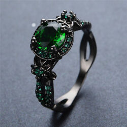 US Vintage Round Cut Green Emerald Flower Wedding Ring Black Gold Gift Size 5 11 $9.49