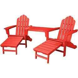 Hanover Rio Sunset Red Steel 3-piece Outdoor All-weather Adirondack Chat Set