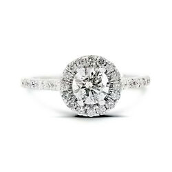 14k White Gold 1.25ctw Round Diamond Pave Set Halo Engagement Ring