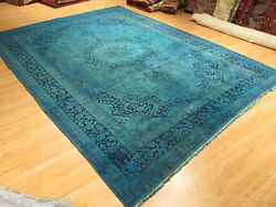 10x13 Persian Rectangle OVERDYED Isfahan Designer Handmade-knotted Wool Rug 603