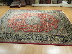 9x12 Rectangle RedBlue Kashan Designer Hand-made-knotted Wool Rug 581376