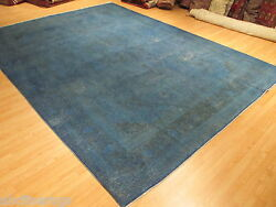 10x13 BlueGrey OVERDYED Stressed Designer Handmade-knotted Wool Area Rug 580571