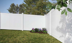 6' HIGH HAMDEN WHITE PVC VINYL PRIVACY FENCE COMPLETE YARD KIT 250 LINEAR FEET