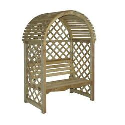 Timber Arbor with Attached Bench Arched Lattice Design 2 Seater Brown Finish