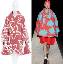 new COMME DES GARCONS AD2012 flatpacked 2D red white floral wool felt coat XS