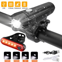 USB Rechargeable LED Bicycle Headlight Bike Head Light Front Rear Cycling Lamp $12.98
