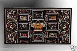 2.5'x4' Black Marble Dining Table Top Birds & Fruits Inlaid Art Patio Decor H626