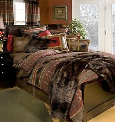 Rustic Western Southwestern Log Cabin Lodge Bear Country Comforter Bedding Set