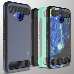 For HTC U11 Life Case - Hard Armor Phone Cover with Carbon Fiber Look