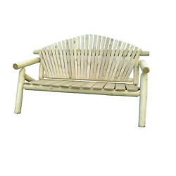 Rustic Outdoor White Cedar Log Adirondack Park Bench - Amish