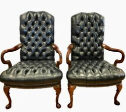 Luxurious Pair English Chesterfield Tufted Leather Navy Blue Arm Chairs