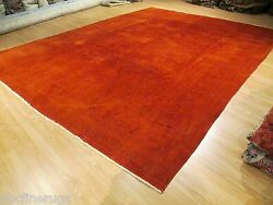 10x13 Antique Persian OVERDYED Red ABC Designer Handmade-knotted Wool Rug 581384
