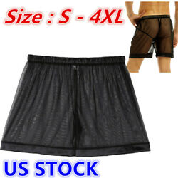 US Sexy Men Lingerie Briefs See through Mesh Loose Lounge Boxer Shorts Underwear $4.99