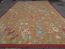 Old Hand Made French Design Wool 18 x 12 Gold Brown Original Aubusson 558X364cm