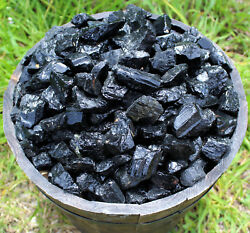 500 Carat Bulk Wholesale Lot Natural Rough Black Tourmaline Stones Rock Crystal