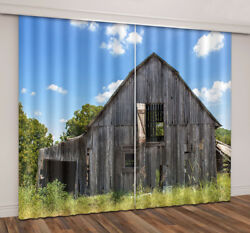 3D Summer Forest Cabin Blockout Photo Print 2Panels Curtain Drapes Fabric Window