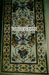 5'x3' White Marble Rectangle Dining Table Inlay Marquetry Patio Living Art Decor