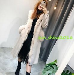 New Women's reversible Real Sheep Fur Winter Shearling Cashmere Warm Coats Wool