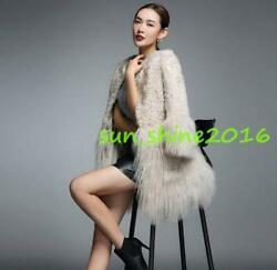 luxurious Women Lady 100% real Shearling Cashmere Fur Warm Parka Coat outwear M