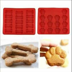 Silicone Pet Dog Bone & Paw Soap mold Candy Chocolate Fondant Tray ICE Cube S