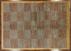 Super Gabbeh Checkered Design 6x9 Multicolor Hand Knotted Wool Area Rug H7637