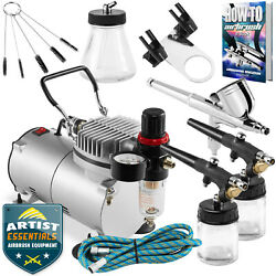 Airbrush Kit Gravity Siphon Feed Air Compressor Crafts Hobby Art $89.75