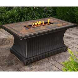 Cascadian Rectangular Slate Topped Gas Firepit Table with Red Lava Rock Strip