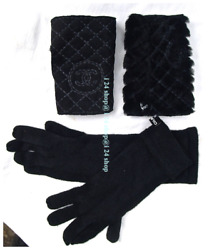 2-in-1 CHANEL BLACK CASHMERE GLOVES + FUR SHEARLING FINGERLESS  GLOVES-one size