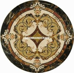 Handcarved Marble Stone Marquetry Table Top Inlay Patio Design Home Garden H5353